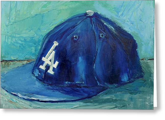 Team Greeting Cards - LA Dodgers Greeting Card by Lindsay Frost