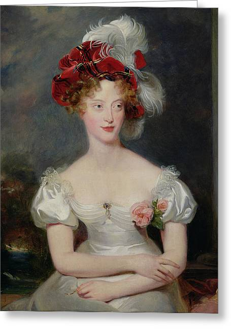 White Dress Greeting Cards - La Duchesse De Berry 1798-1870 C.1825 Oil On Canvas Greeting Card by Sir Thomas Lawrence