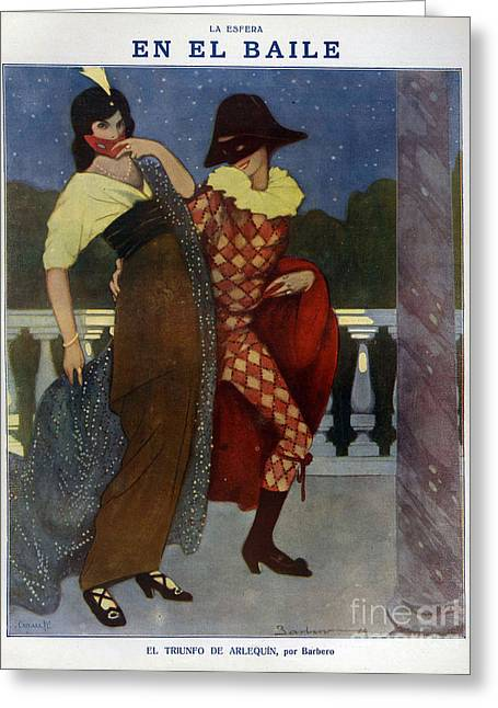 La Esfera 1910s Spain Cc Harlequins Greeting Card by The Advertising Archives