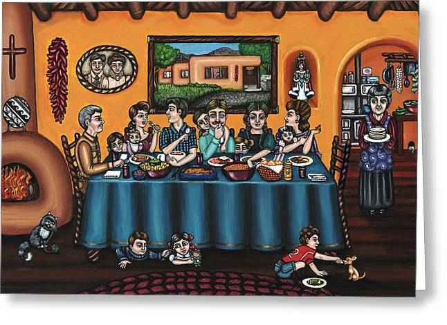 Hispanic Artists Greeting Cards - La Familia or The Family Greeting Card by Victoria De Almeida