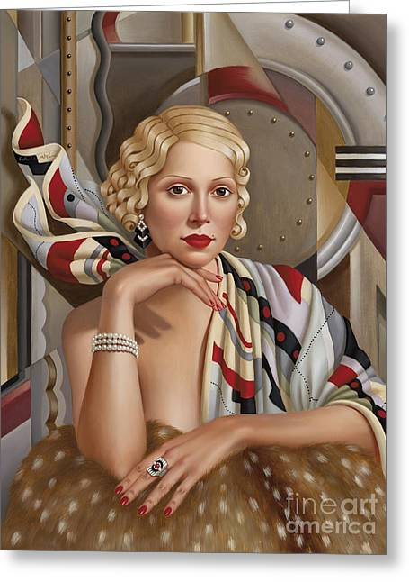 Stylized Paintings Greeting Cards - La Femmeen Soiehi  Greeting Card by Catherine Abel