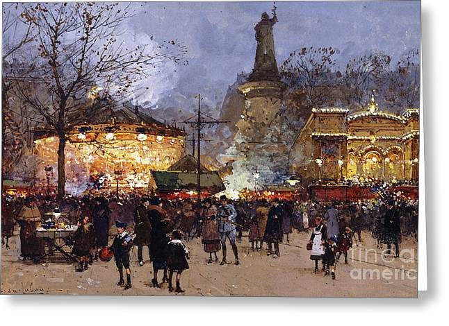 Traffic Greeting Cards - La Fete Place de la Republique Paris Greeting Card by Eugene Galien-Laloue