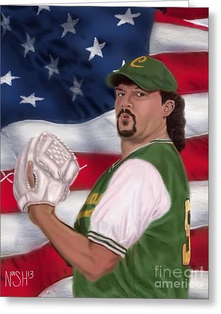 La Flama Blanca Patriotic Version Greeting Card by Jeremy Nash