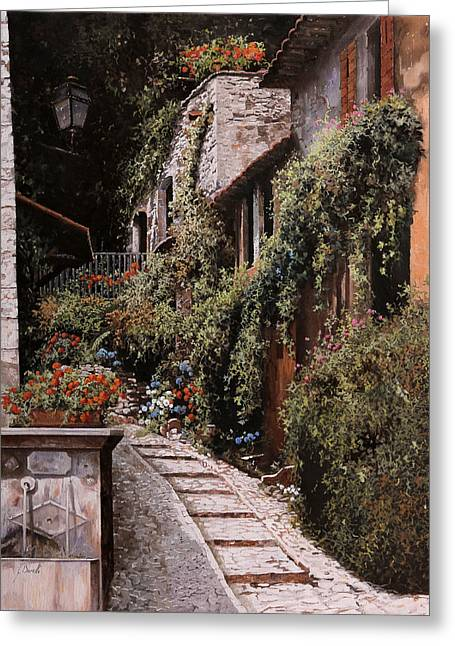 Spring Street Greeting Cards - La Fontanella Greeting Card by Guido Borelli