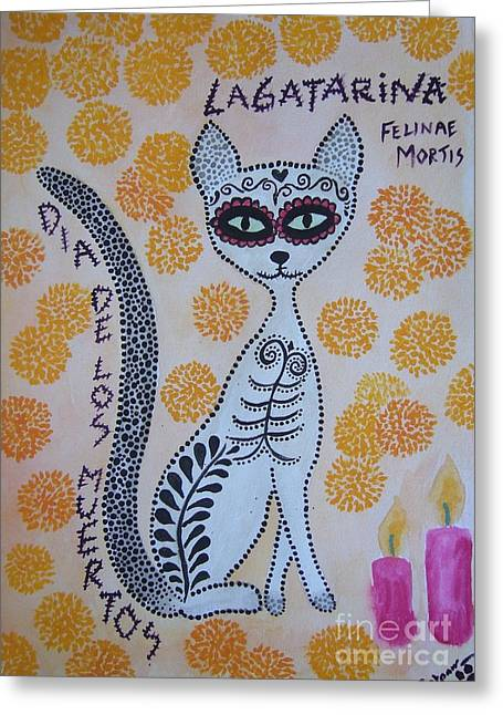 De La Soul Greeting Cards - La Gatarina Greeting Card by Liz Rosales