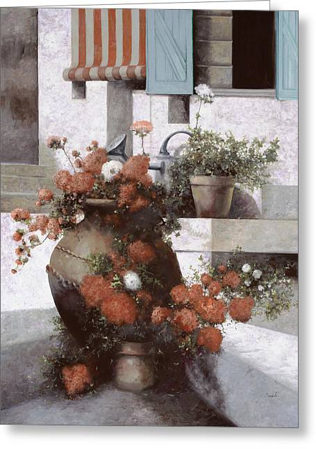 Red And White Greeting Cards - La Giara E I Fiori Rossi Greeting Card by Guido Borelli