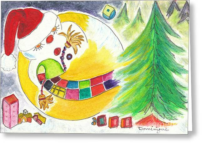 Tobogganing Greeting Cards - La glissade / The Sliding Greeting Card by Dominique Fortier
