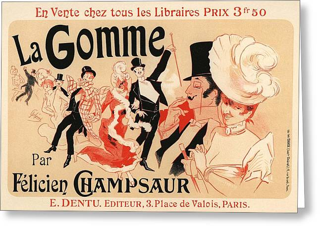 Belle Epoque Greeting Cards - La Gomme Greeting Card by Gianfranco Weiss