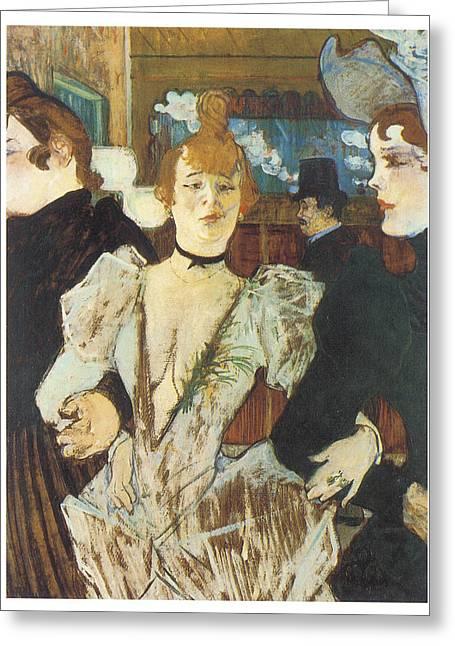 Henri De Toulouse-lautrec Paintings Greeting Cards - La Goulue Arriving at the Moulin Rouge with Two Women Greeting Card by Henri De Toulouse-Lautrec