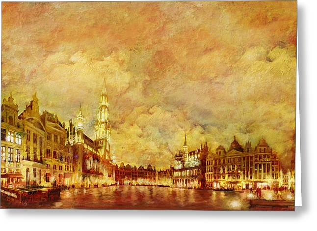La Grand Place Brussels Greeting Card by Catf