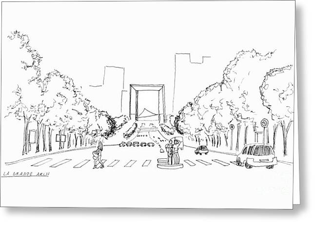 Crosswalk Drawings Greeting Cards - La Grande Arch Greeting Card by Steven Tomadakis