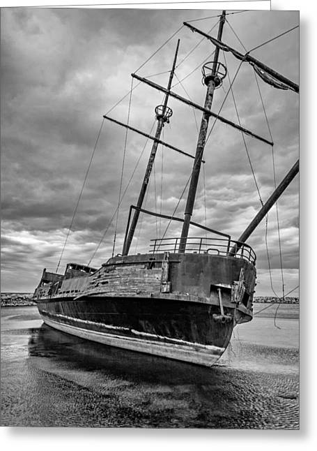 Pirate Ship Greeting Cards - La Grande Hermine BW Greeting Card by Steve Harrington