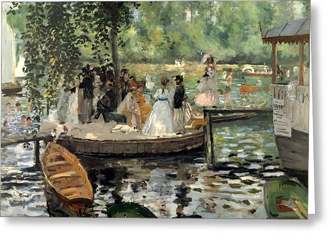 Conversing Paintings Greeting Cards - La Grenouillere Greeting Card by Auguste Renoir