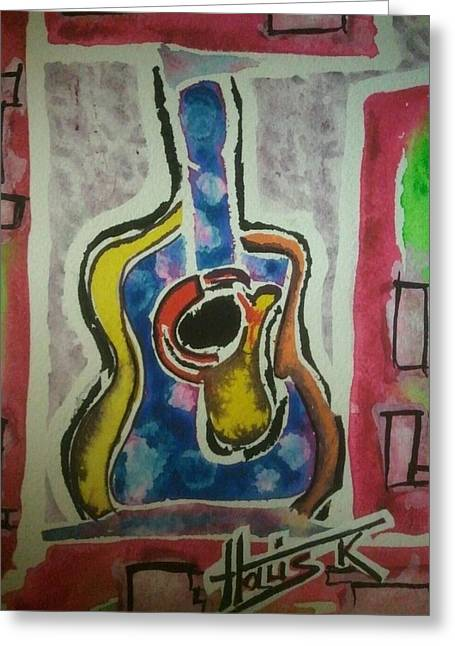 Fauvist Style Greeting Cards - La Guitare Deux Greeting Card by Gayla Abel Hollis
