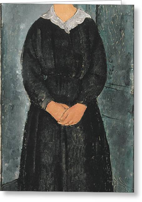 Modigliani Greeting Cards - La Jeune Bonne Greeting Card by Amedeo Modigliani