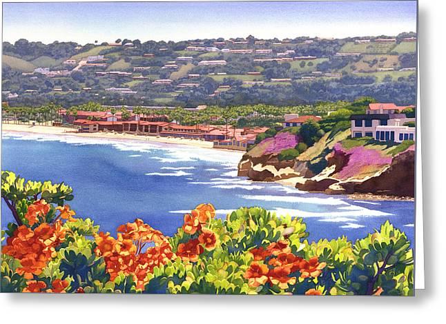 La Jolla Beach And Tennis Club Greeting Card by Mary Helmreich