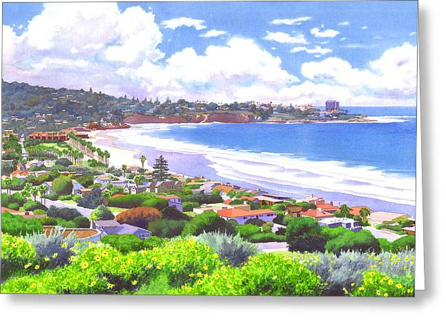 North Shore Paintings Greeting Cards - La Jolla California Greeting Card by Mary Helmreich