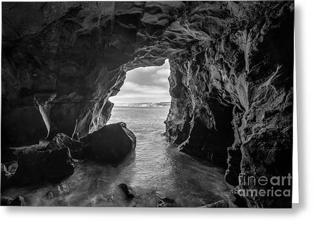 La Jolla Cave Bw Greeting Card by Michael Ver Sprill