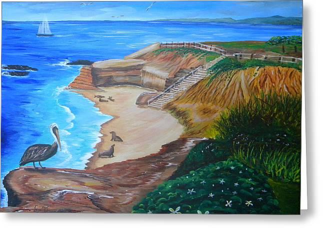 California Sea Lions Paintings Greeting Cards - La Jolla Coast with Sea Lions Greeting Card by Eric Johansen