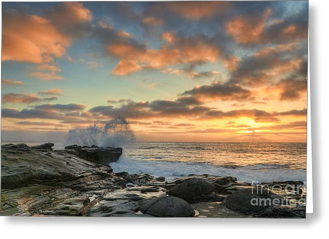 Hdr Landscape Greeting Cards - La Jolla Cove At Sunset Greeting Card by Eddie Yerkish