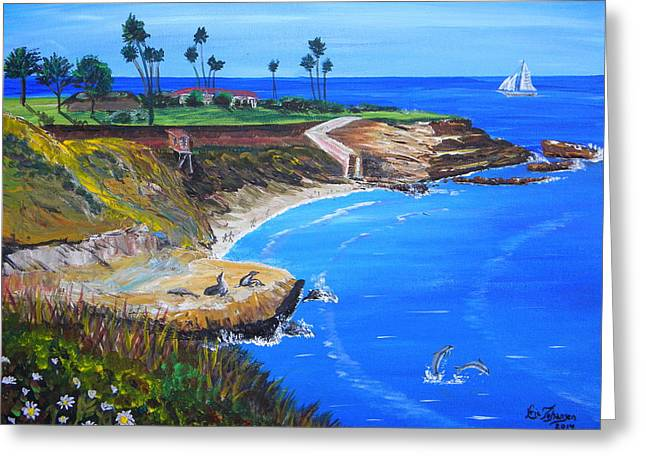 California Sea Lions Greeting Cards - La Jolla Cove Greeting Card by Eric Johansen