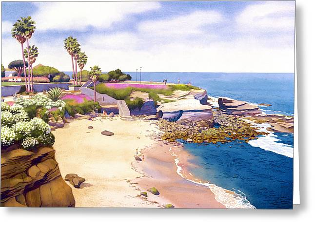 Southern Scene Greeting Cards - La Jolla Cove Greeting Card by Mary Helmreich