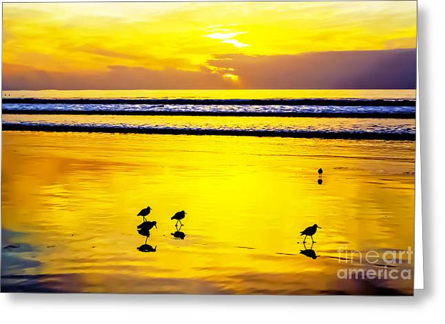 Surfing Photos Greeting Cards - La Jolla Gold Greeting Card by Keith Ducker