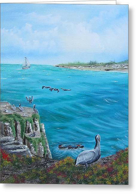 California Sea Lions Paintings Greeting Cards - La Jolla Natives - Left Greeting Card by Alfred Knoll