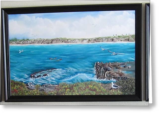 Sea Lions Greeting Cards - La Jolla Natives Originals Greeting Card by Alfred Knoll