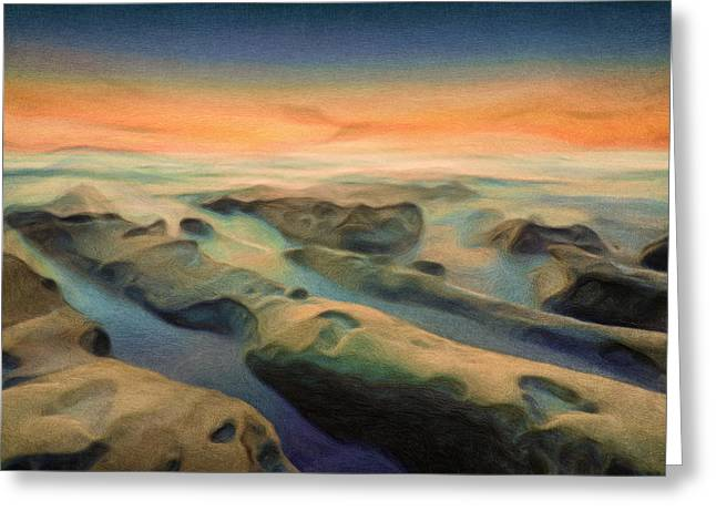 Sunset Seascape Greeting Cards - La Jolla Reimagined Greeting Card by Joel Olives