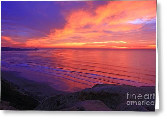 Landscape Framed Prints Greeting Cards - La Jolla Sunset Greeting Card by John Tsumas