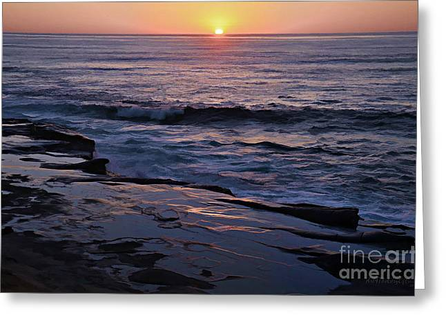 Lovers Of The Sun Greeting Cards - La Jolla Sunset Reflection Greeting Card by Sharon Soberon