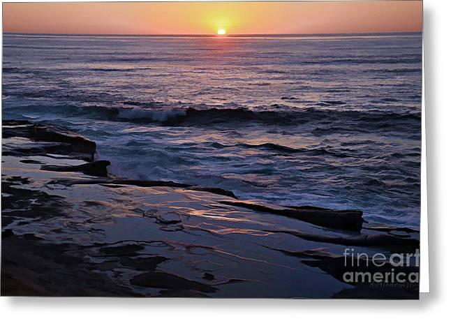 La Jolla Sunset Reflection Greeting Card by Sharon Soberon