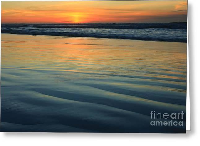 Landscape Framed Prints Greeting Cards - La Jolla Sunset Ripples Greeting Card by John Tsumas