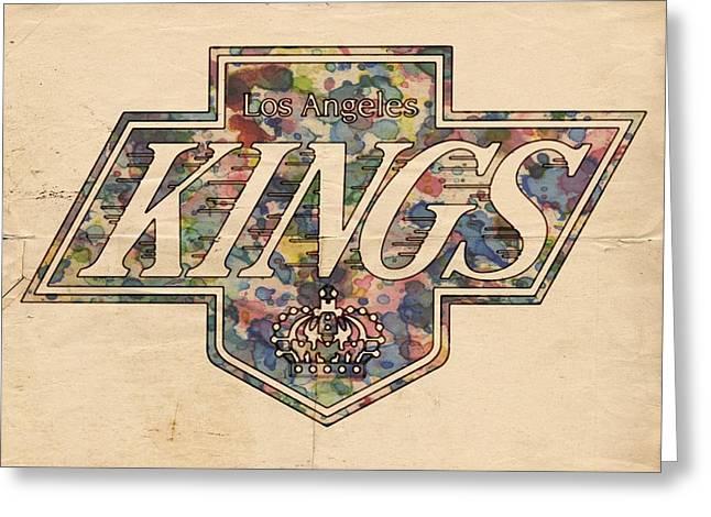 Goaltender Greeting Cards - LA Kings Vintage Art Greeting Card by Florian Rodarte