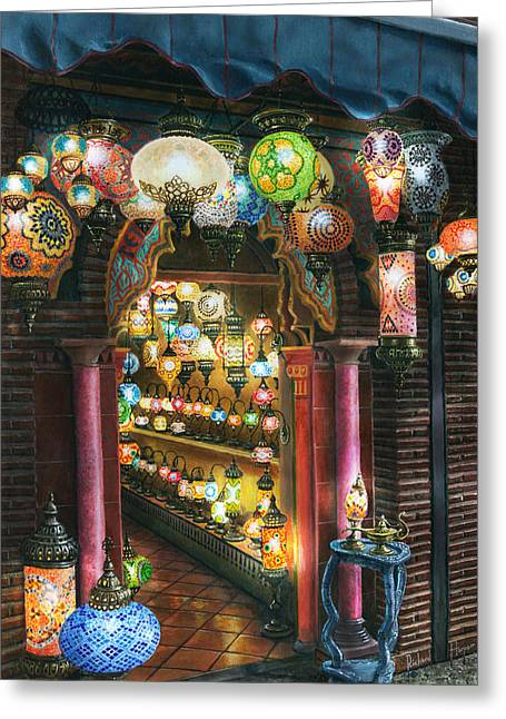 Oil Lamp Greeting Cards - La Lamparareia en la Noche Albacin Granada Greeting Card by Richard Harpum