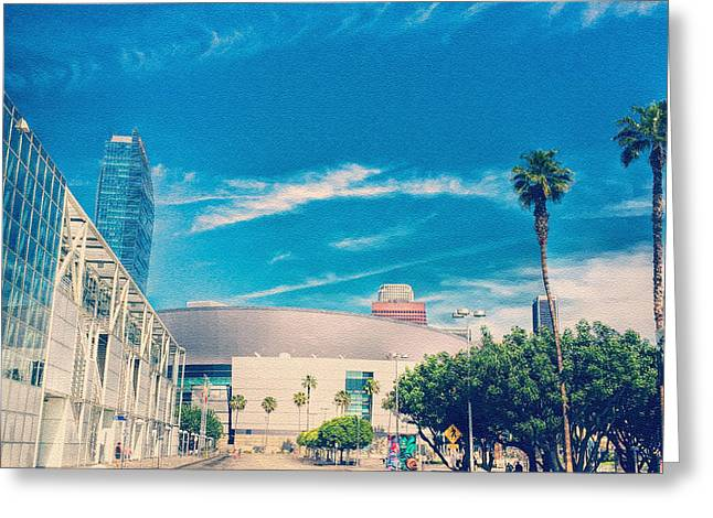 Staples Center Greeting Cards - La Greeting Card by Leo Koach