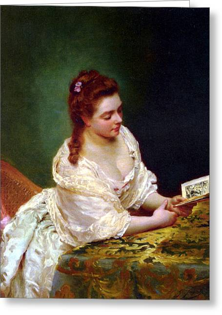 Young Lady Greeting Cards - La Lettre Greeting Card by Gustave Jean Jacquet