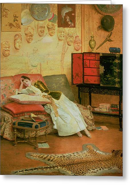 Leopard Skin Greeting Cards - La Liseuse Greeting Card by Georges Croegaert