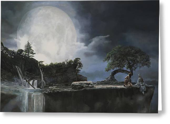 La Luna Bianca Greeting Card by Guido Borelli