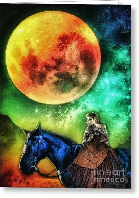 Disk Greeting Cards - La Luna Greeting Card by Mo T
