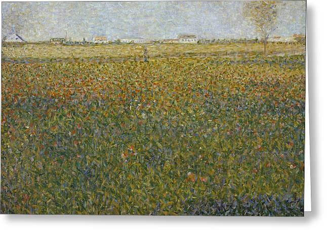 Seurat Greeting Cards - La Luzerne Greeting Card by Georges Seurat