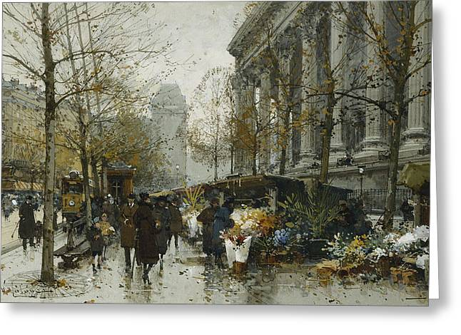 Traffic Greeting Cards - La Madelaine Paris Greeting Card by Eugene Galien-Laloue