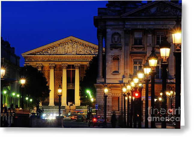 Concord Center Greeting Cards - La Madeleine at Night Greeting Card by Colin Woods
