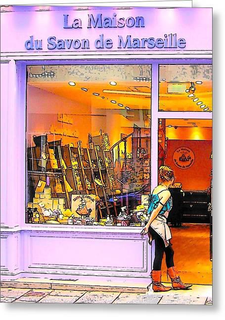 Interior Scene Digital Art Greeting Cards - La Maison du Savon de Marseille Greeting Card by Jan Matson