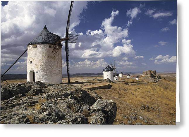 Consuegra Greeting Cards - La Mancha Windmills Greeting Card by Jim  Wallace