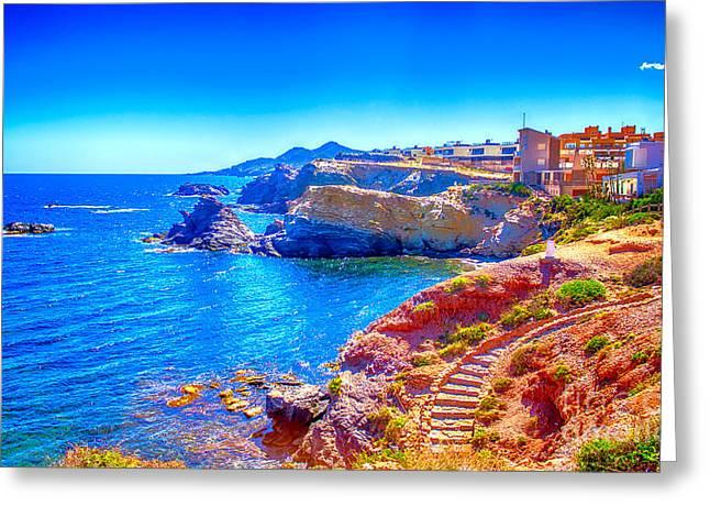 Destination Scenics Pyrography Greeting Cards - La Manga seaside in Spain Greeting Card by Dragomir Nikolov