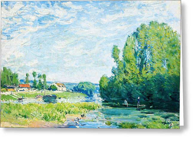 Bravery Greeting Cards - La Mare Aux Canards Greeting Card by Alfred Sisley