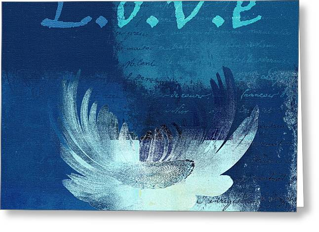 Love Blues Greeting Cards - La Marguerite - Love Blue 01 Greeting Card by Variance Collections