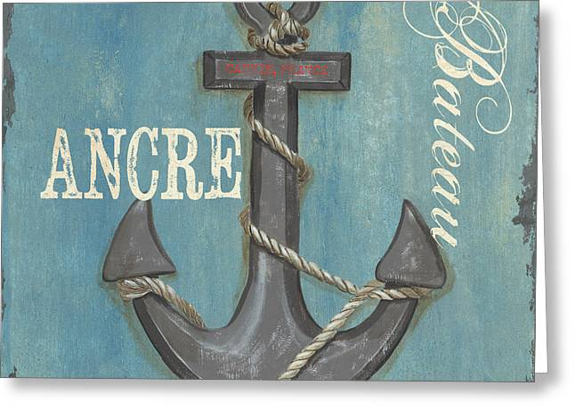 Vintage Boat Greeting Cards - La Mer Ancre Greeting Card by Debbie DeWitt